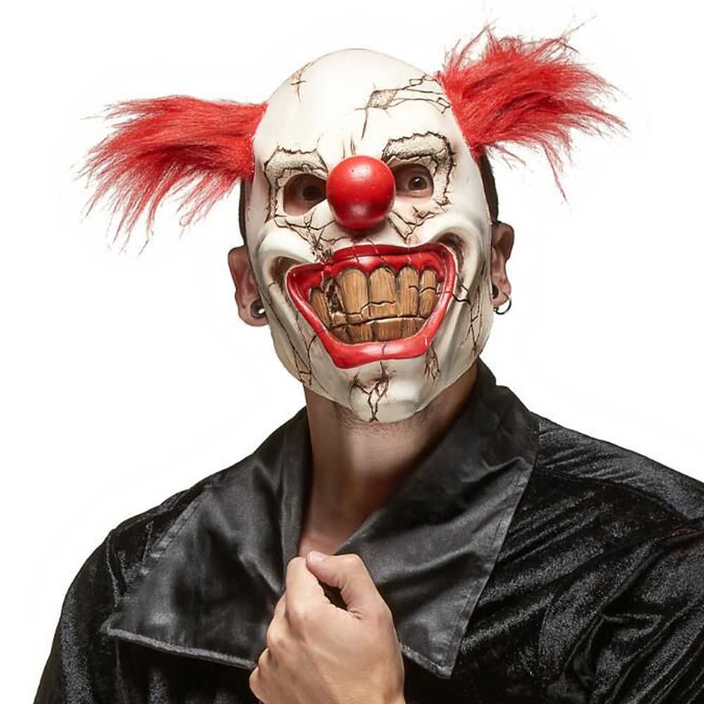 Horror Rode Neus Haar Joker Masker Cosplay Scary Demon Devil Clown Grote Mond Half Gezicht Latex Maskers Halloween Party Kostuums props