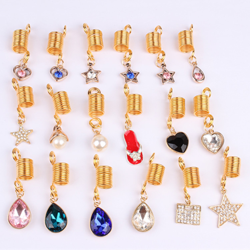 5pcs Golden Spiral Heart Pearl Rhinestone Jewelry Charms Hair Braid Dread Dreadlock Beads Cuffs Rings Tube Hair Accessories