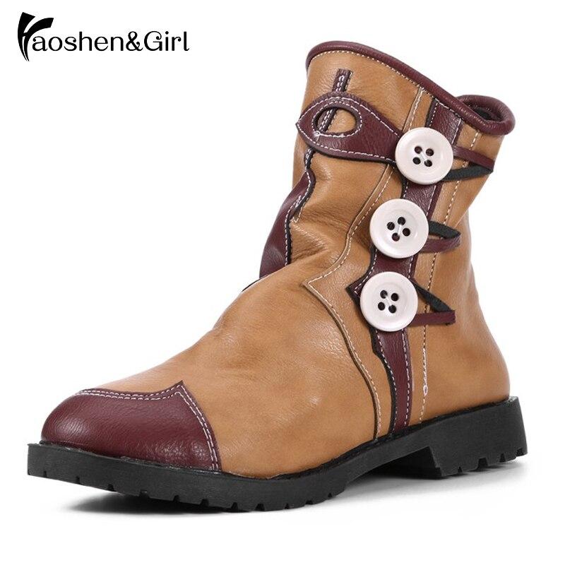 Haoshen & fille femmes hiver bottines rond Teo talon bas Martin bottes rétro bouton chaussures femme talons chaussures décontractées Plus Size34-43