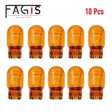 Fagis 10 pçs t20 7440 7443 w21w w21/5w amarelo natural auto halogênio cauda luzes de freio do carro lâmpada condução sinais volta lâmpadas âmbar