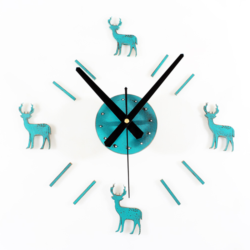 Creative DIY Wall Clock Modern Design Pastoral Style Clocks Christmas Deer Theme Vintage Retro 3D Stickers Wall Watch Home Decor