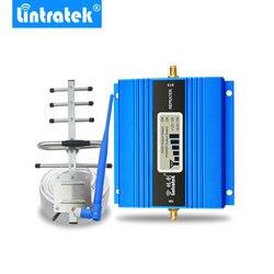 Lintratek Màn Hình LCD Hiển Thị Mini GSM Repeater 900MHz Tế Bào Điện Thoại Di Động GSM 900 Tăng Cường Tín Hiệu Khuếch Đại + Yagi Anten 10 M Dây Cáp
