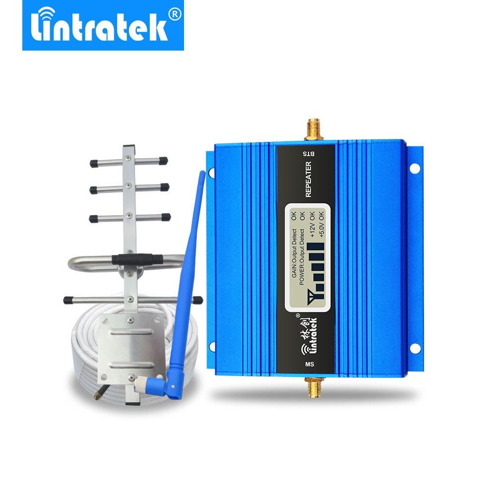 Lintratek pantalla LCD Mini repetidor GSM 900MHz para móvil teléfono GSM 900 amplificador de señal + Antena Yagi con 10m de Cable