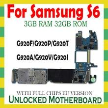 Orijinal Samsung Galaxy S6 G920F G920P G920V G920A G920T G920I G920F Unlocked anakart mantık anne kurulu parçaları
