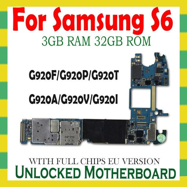 Placa mãe original para samsung galaxy s6 g920f g920p g920v g920a g920t g920i g920f desbloqueado lógica placa mãe peças