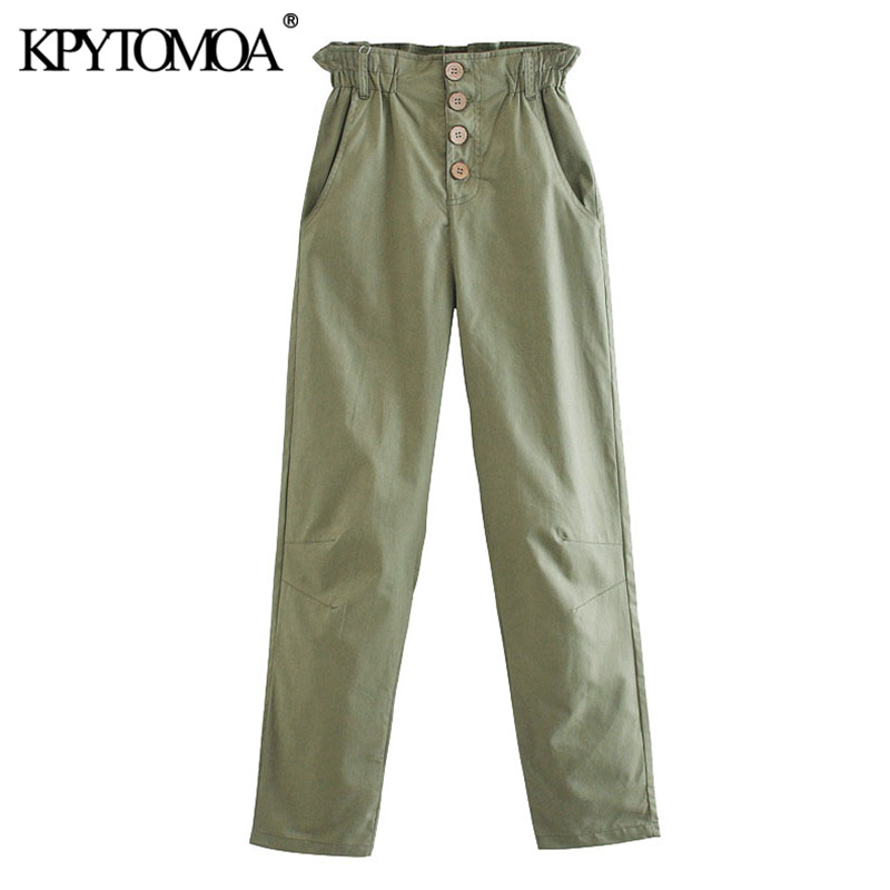 KPYTOMOA Women 2020 Chic Fashion Pockets Paperbag Baggy Pants Vintage High Elastic Waist Buttons Female Trousers Pantalones