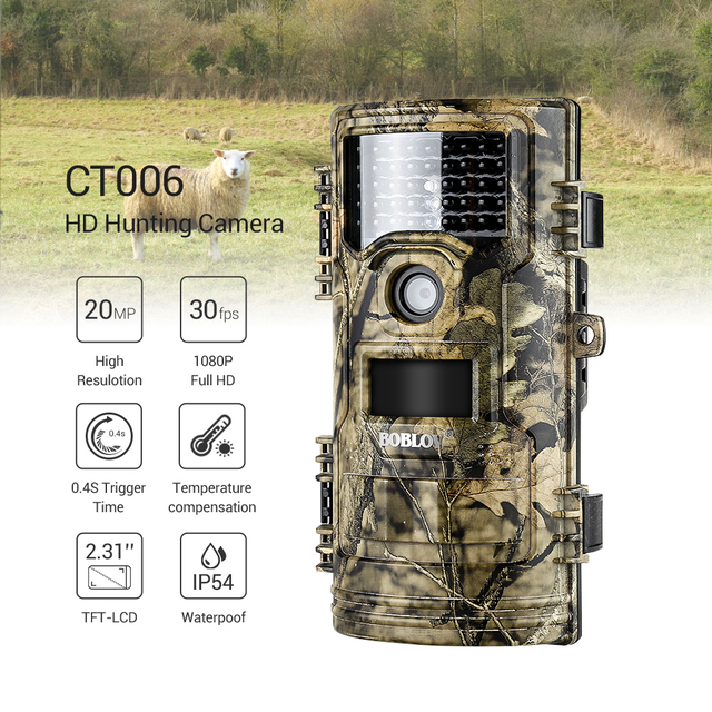 BOBLOV CT006 Trail Camera 20MP 1080p 30fps Scouting Night Vision Trail Hunting Camera CamWildcamera Wild Surveillance Wildlife 1