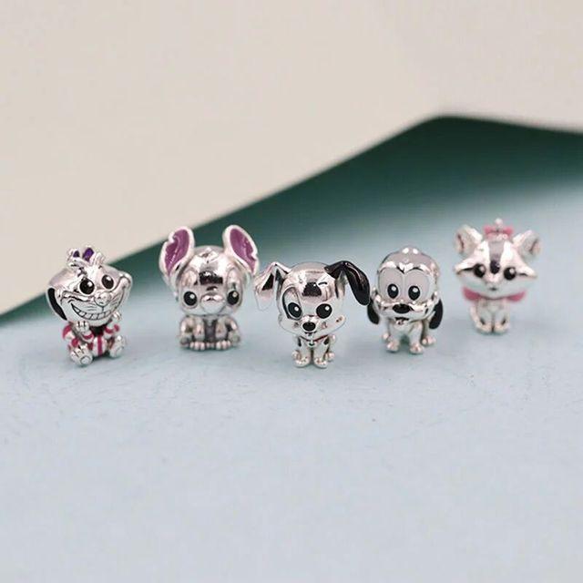 fit Pandora Bracelet Silver 925 Original Cute Happy Female&Male Dog Beads S925 Cute Patch Pluto Animal Charms diy Jewelry Making