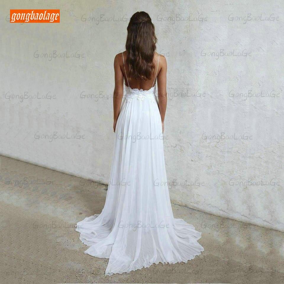 Vestidos de casamento branco marfim, boêmio feminino,