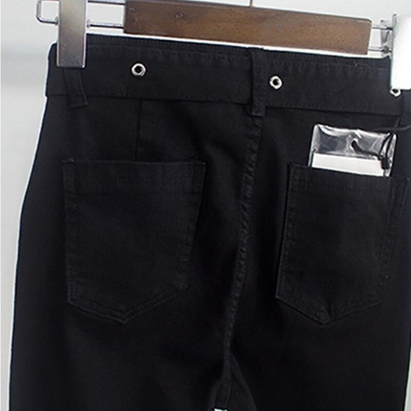 2020 Autumn Winter Women Warm Fleece Denim Pencil Pants Sashes High Waist Zippers Ladies Streetwear Black Slim Fit Jeans Female