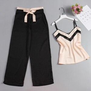 Image 2 - JULYS SONG 2 Piece Woman Pajamas Set Stain Silk Sexy Sleepwear Woman Pink Top And Long Pants Strap Sling Summer Pajama HomeWear