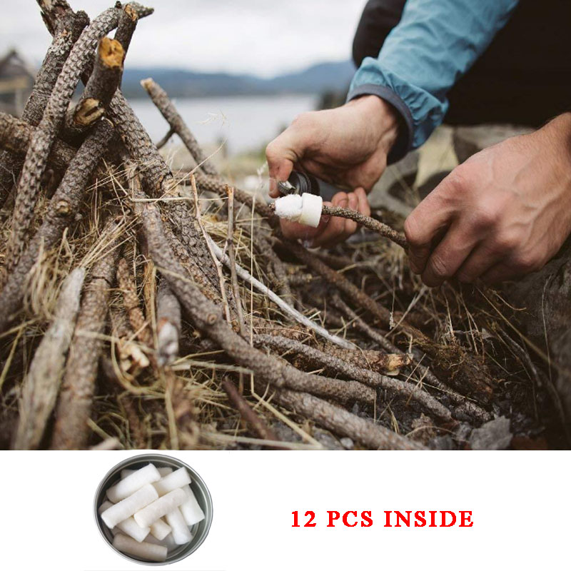 Outdoor SOS Survival Fire Starter Kit Outdoor Emergency Tools Waxed Cotton Sticks Pinewood Flame Maker Fire Starter Wood Cotton