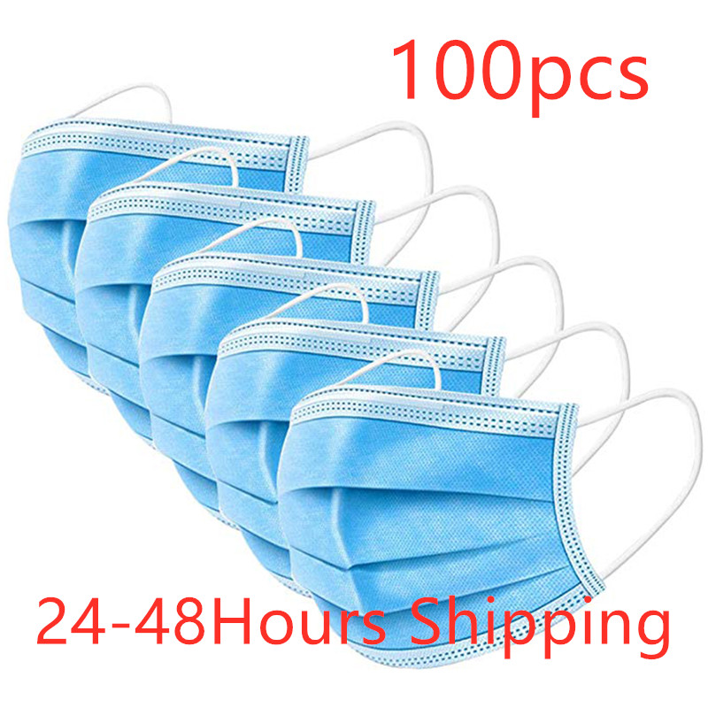 100pcs Face Mouth Anti Virus Mask Disposable Protect 3 Layers Filter Dustproof Earloop Non Woven Mouth Masks 48 Hours Shipping