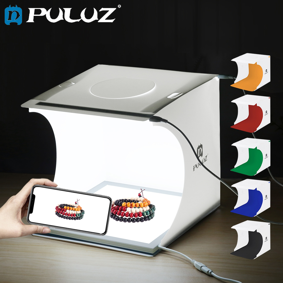 Puluz 20cm mini photo box studio shadowless luz painel da lâmpada almofada + estúdio tiro tenda caixa de luz branca tenda kit