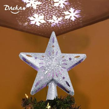 LED Christmas Tree Topper Star,3D Top Light Projection Lamp Sequin ,Christmas Party Decoration for Home,Bar,Cafe,Restaurant