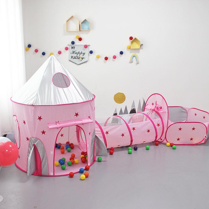 Туннель для девочек, принцесса, палатка, игрушки для детей, для дома, игровой домик, детский шар для океана, яма, бассейн, космический корабль,...