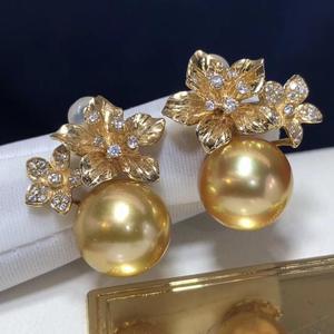 Image 3 - ファインジュエリー 1103 純粋な 14 18k ゴールド天然海ゴールデン真珠 11 10 ミリメートルスタッドピアスのための真珠のイヤリング