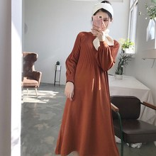 Autumn Retro French Girl Chic Knitting V-Neck Long Sleeve Basic Dress Casual Loose Knitted Solid Winter