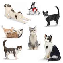 Tuxedo Figures Stretching Cat-Playing Bulks Model Learning-Toy Gift Pets Shorthair Black