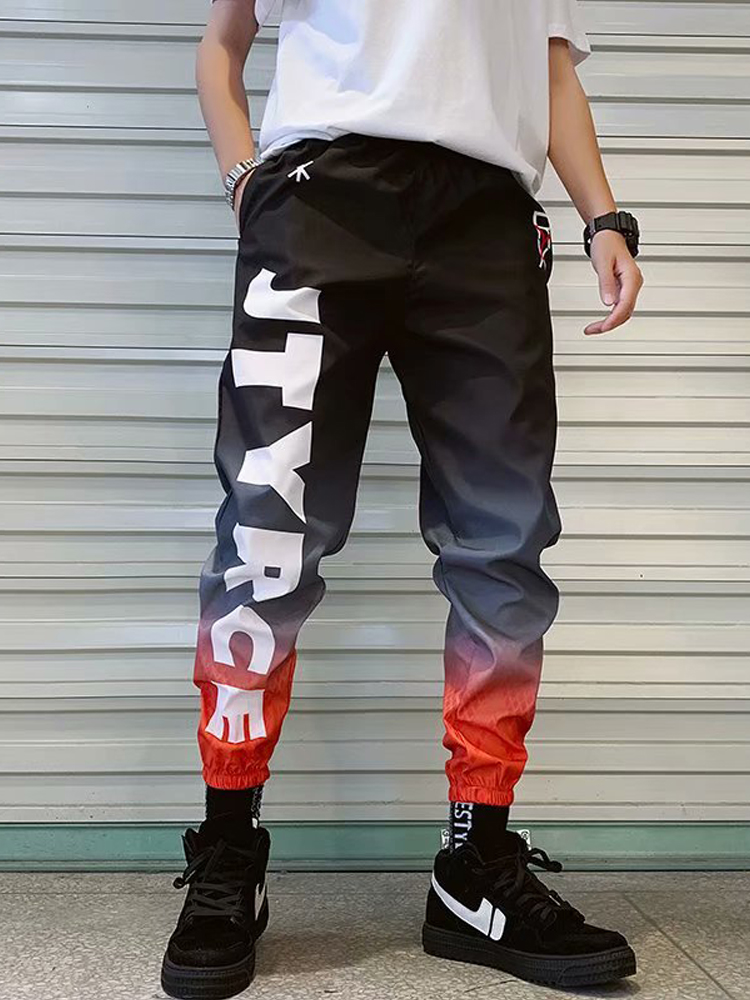 Trousers Joggers-Pants Streetwear Hip-Hop Loose Sport Casual Letter for Men Ankle-Length