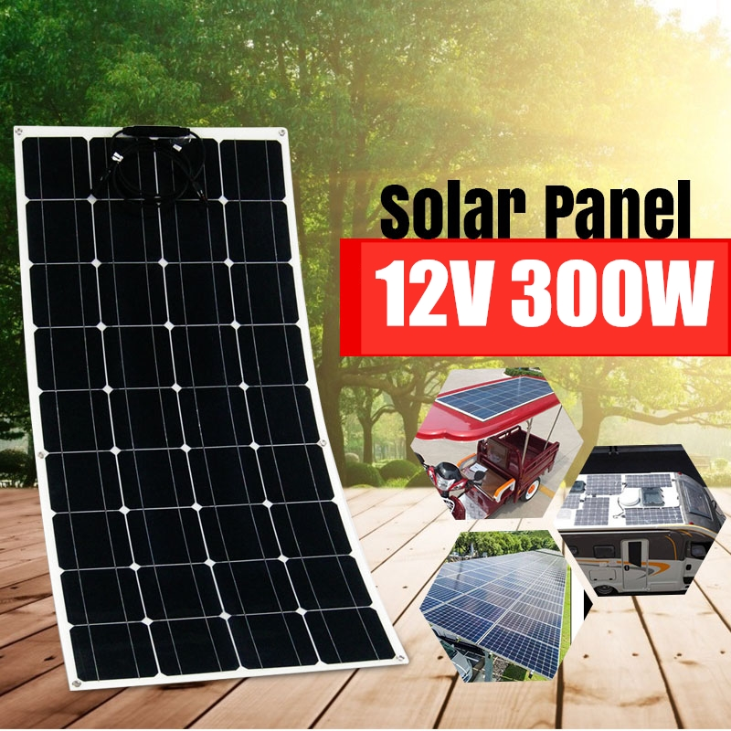 300W <font><b>Solar</b></font> <font><b>Panel</b></font> Battery Charger Cell <font><b>12V</b></font> <font><b>100W</b></font> 18V Kit Complete <font><b>Solar</b></font> Power System USB Portable Flexible Rechargeable Camping image