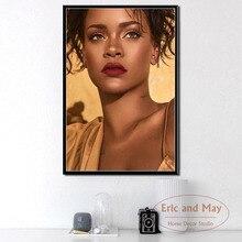 Rihanna cantante de música Pop superestrella Hip Hop arte pintura lienzo Vintage cartel pared decoración para el hogar