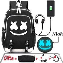 Student School Bags Teenage Backpack for Boys Multifunction UBS Girls Luminous Bookbag Waterproof Laptop Travel Bags cute pencil
