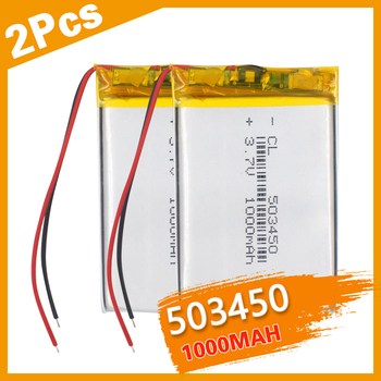 2PCS 1100 mAh 543450 3.7V Polymer Lithium Rechargeable Battery Li-ion Battery 503450 523450 for Smart Phone DVD MP3 MP4 Led Lamp image