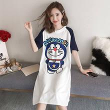 Grande tamanho feminino verão coreano pijamas solto bonito nightwear dos desenhos animados das senhoras camisa de dormir vestido longo sleepwear algodão