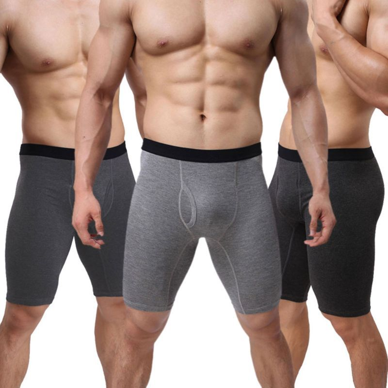 Man Underwear Long Boxer For Men Trunks Sexy Underpants Men's Boxer Shorts Bulge Pouch Sports Fitness Shorts Gray Sleepwear