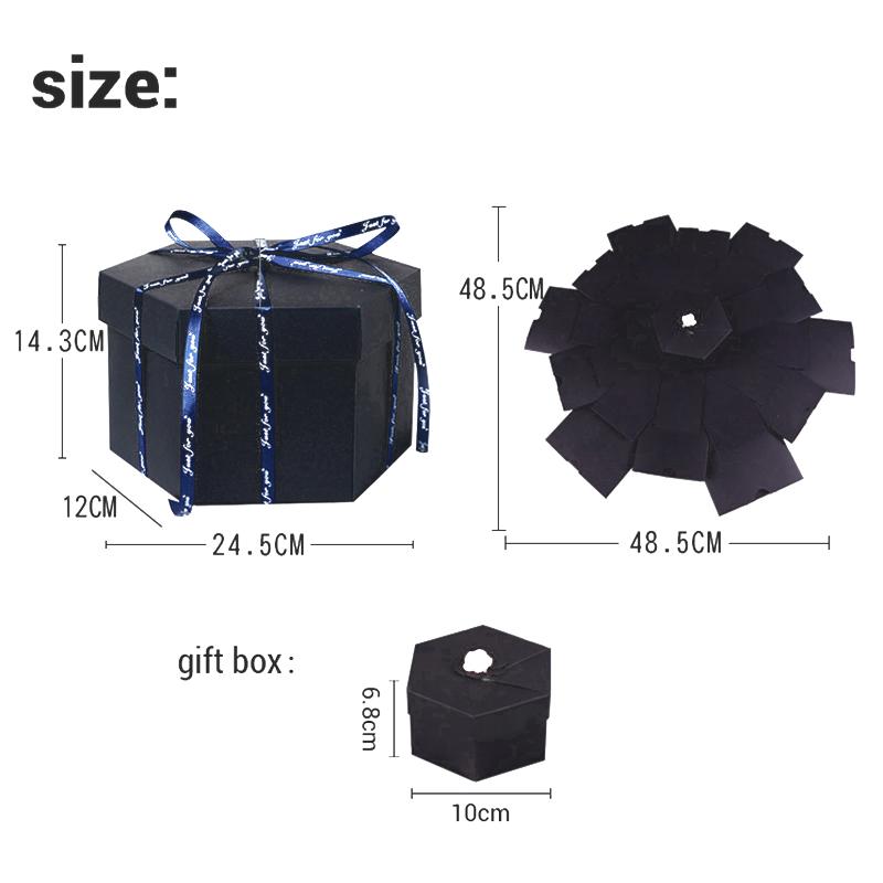 Hexagon Surprise Explosion Box DIY Handmade Scrapbook Photo Album Wedding Gift Box for Valentine Christmas Gift Boxes 8