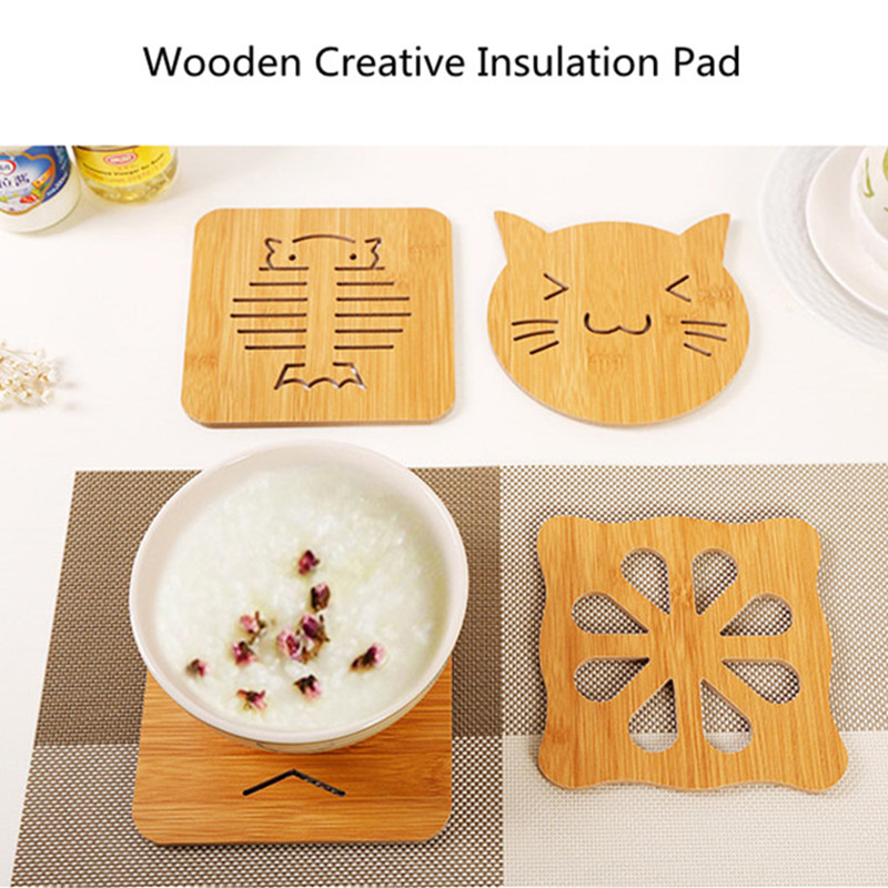 Wooden Placemat Cup Mat Cartoon Coasters Tea Coffee Mug Drinks Holder For Crafts Wedding Party Decoration in Mats Pads from Home Garden