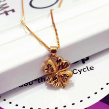 Women Necklace Clover Chain Link Chain Silver Padlock Pendant Fashion Gothic Jewelry Golden 2020