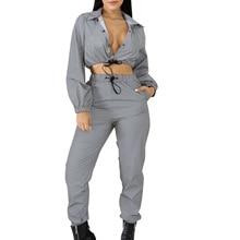 Women 2 Pieces Crop Tops Pants Sets Outfits Autumn Reflectiv
