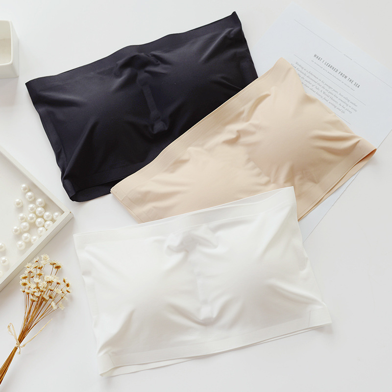 Summer Women Ice Silk Bandeau Top Solid Breathable Strapless Bra Bandeau Soft Seamless Women Casual Tank Crop Tops