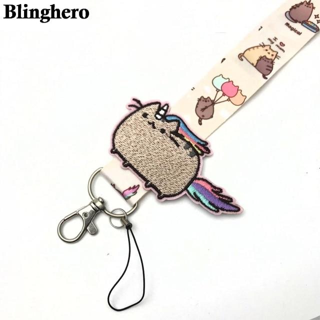 CA698 Wholesale 20pcs/lot Cute Cat key lanyard ID Badge Holder Animal Mobile Phone Neck Strap With Key Ring 1PCS 6
