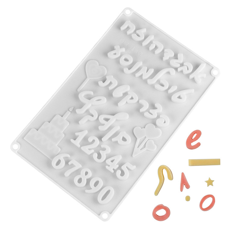3D İbranice harfler arapça numaraları DIY silikon çikolata kalıp bisküvi pişirme kek dekorasyon araçları Bakeware kalıpları ev Cocina