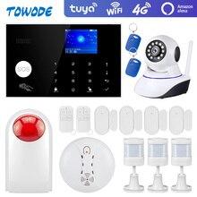 Towode警報システムキットG34 gsm wifiと4グラムチュウヤワイヤレスセキュリティホームカメラ検出器のリモートコントロールサイレン433mhz