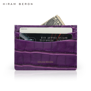 Image 5 - Hiram Beron Genuine Leather Card Holder Men Cow Leather With Crocodile Pattern Wallet Free Custom Name ID Credit Card Wallet