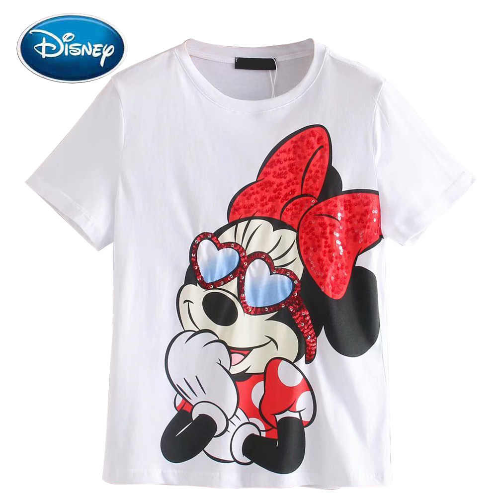 Disney T-shirt Chic Fashion Minnie Mouse Cartoon Lovertjes Print Zoete Vrouwen T-shirt Katoen O-Hals Trui Korte Mouwen Tee Tops