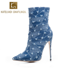KATELVADI New Arrival Ankle Boots Dark Blue Denim Shoes Womens 5Inches High Heels Catwalk Show Woman K-563