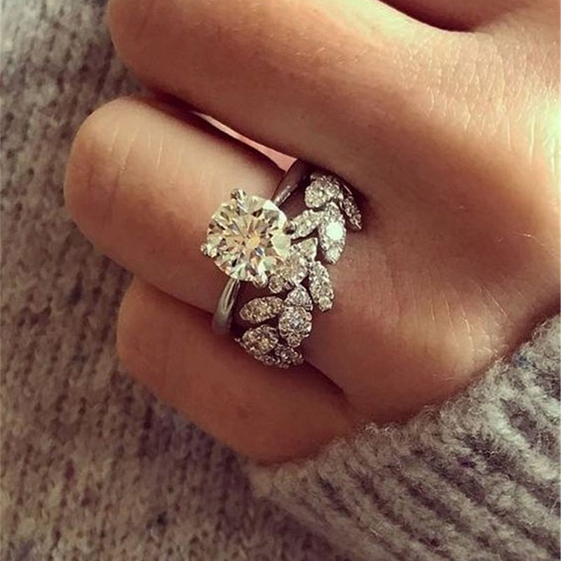 2pcs/Set Women Luxury Crystal Zircon Rings Set Fashion Leaf Floral Rings For Women Accesories Bride Engagement Wedding Jewelry