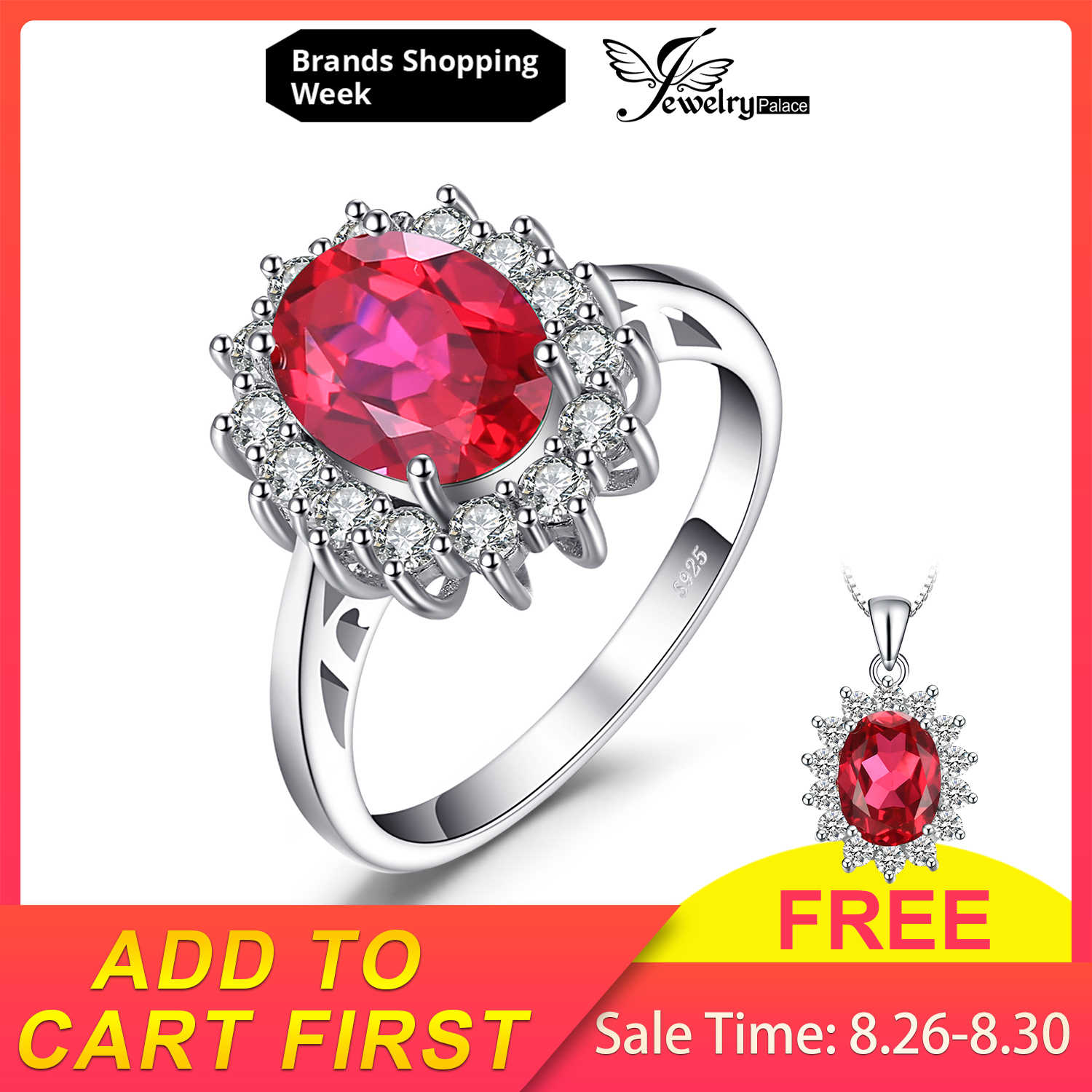 JewelryPalace Princesa Diana William Engagement Criado Red Ruby Anel de Casamento Set Pure Sólida Genuíno 925 Jóias de Prata Esterlina