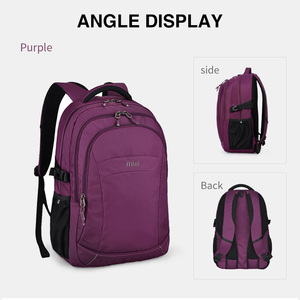 Image 2 - Mixi Women Backpack Men Travel Shoulder Bag Laptop Backpack Boys Girls Student Book Bag Waterproof Black Purple 18 Inch M5160