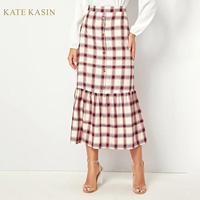 Kate Kasin Women's Fashion Long Plaid Skirts Vintage Style Slim Fit Midi Skirt 2019 New High Waist Pencil Skirt Femme
