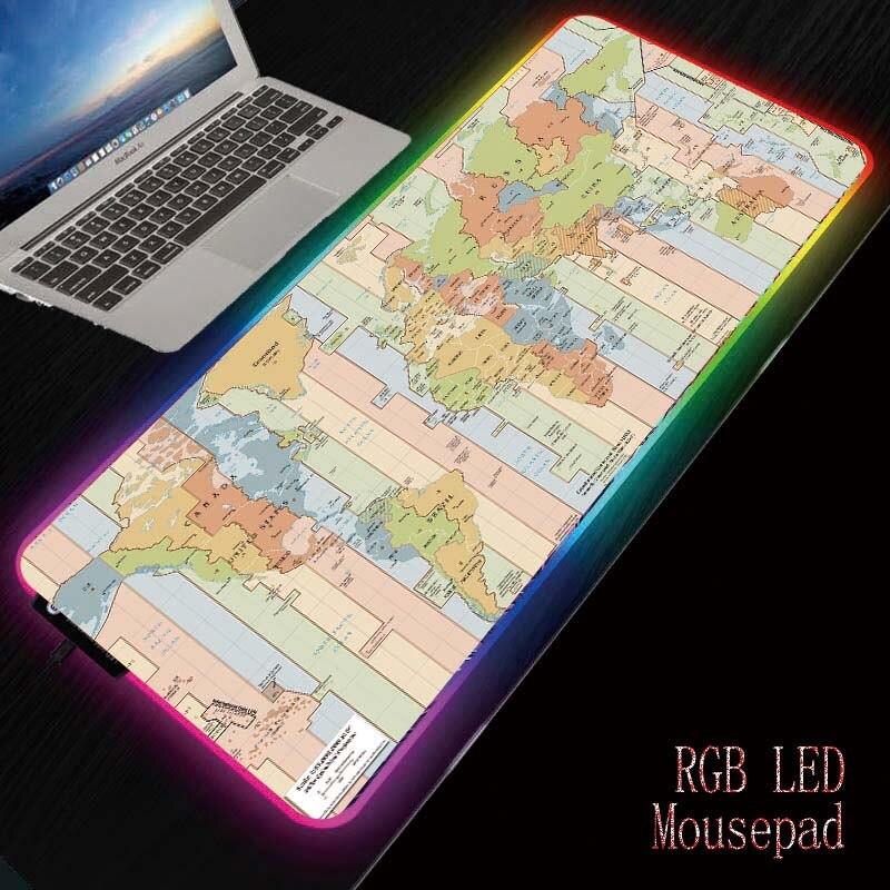 Mairuige World Map Gaming RGB Mouse Pad Gamer Computer Mousepad  Backlit Mause Pad Large Mousepad For Desk Keyboard LED Mice Mat