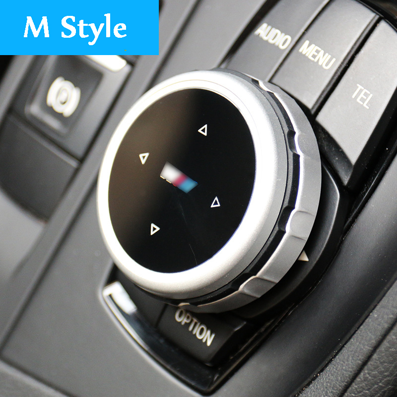 Original Car Multimedia Buttons Cover IDrive Stickers For BMW 1 2 3 5 7 Series X1 X3 F25 X5 F15 X6 16 F30 F10 F07 E90 F11 M Logo