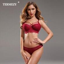 TERMEZY ropa interior de lujo para mujer, Conjunto de sujetador de gran calidad, lencería, sostén push up, sujetador ajustable