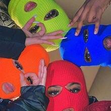 Осенне зимняя разноцветная шерстяная маска головной убор gini
