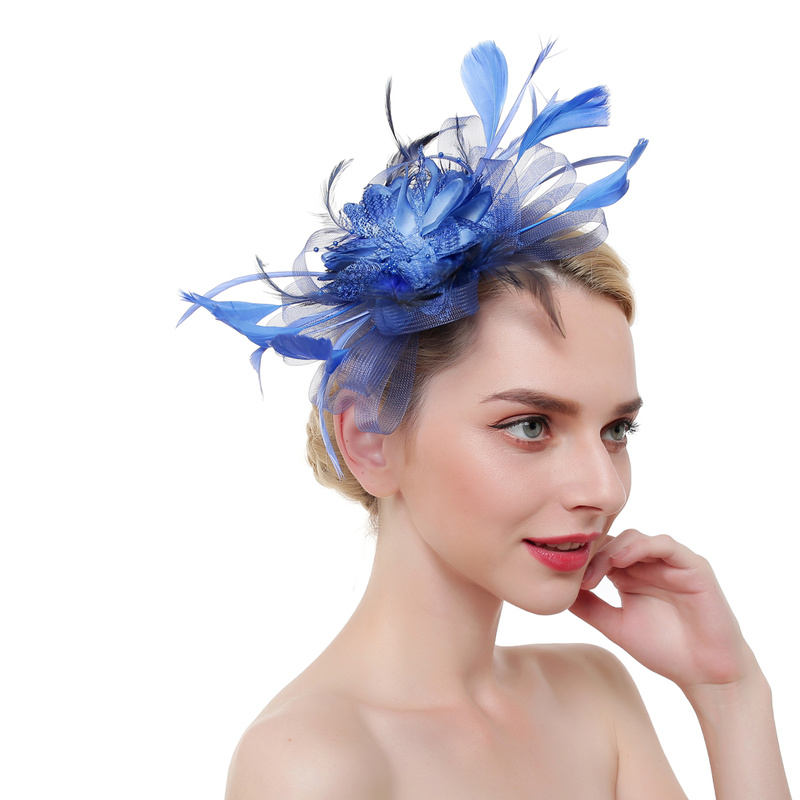 Women Fascinator Hair Accessories Elegant Fashion Headwear Fancy Feather Flower Pins Cocktail Party Clips